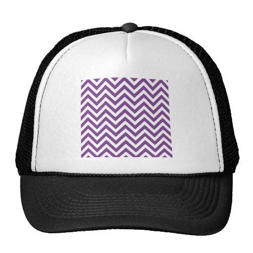 Zig Zag Purple and white striped Template Pattern Trucker Hats