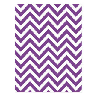 Zig Zag Purple and white striped Template Pattern Postcard