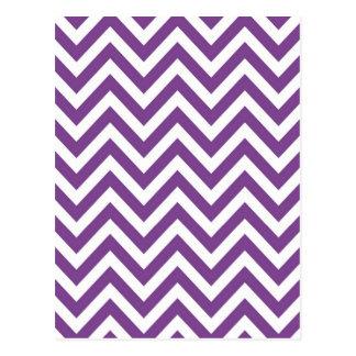 Zig Zag Purple and white striped Template Pattern Postcard