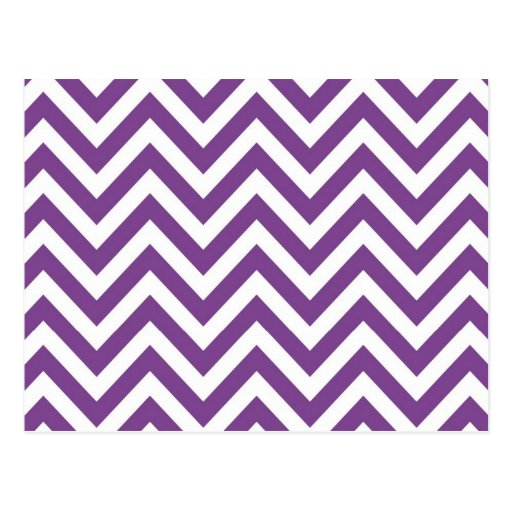 Zig Zag Purple and white striped Template Pattern Postcards