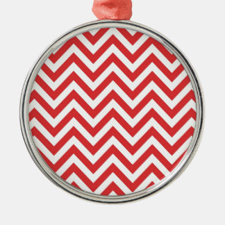 Zig Zag Striped Red White Pattern Qpc Template Silver-Colored Round Decoration
