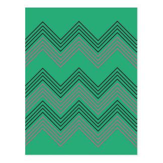 Zig zag vintage 50s stripes postcard