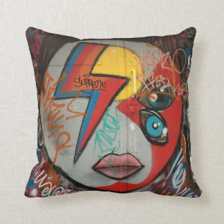 Ziggy Stardust street art / grafitti throw pillow