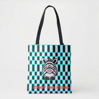 Ziggy the Zebra Turquoise Checkered Tote Bag