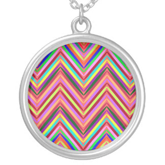Zigzag and diversity round pendant necklace