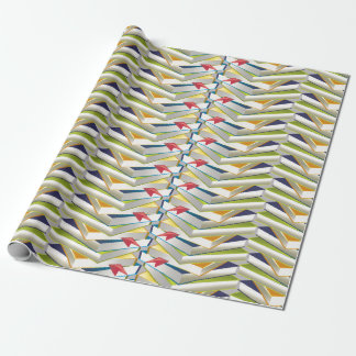 ZigZag Book Stacks Wrapping Paper