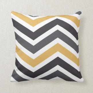 ZigZag Chevron Gold And Gray Cushion