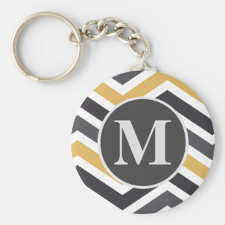 ZigZag Chevron Gold And Gray Monogrammed Key Ring