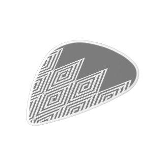 Zigzag Diamond Chevron Tribal pattern White Delrin Guitar Pick