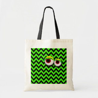 ZIGZAG eYe MONSTER: GReeN Budget Tote Bag