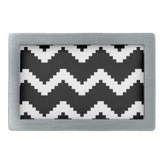 Zigzag geometric pattern - black and white. rectangular belt buckles