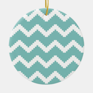 Zigzag geometric pattern - blue and white. ceramic ornament