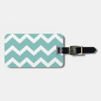 Zigzag geometric pattern - blue and white. luggage tag