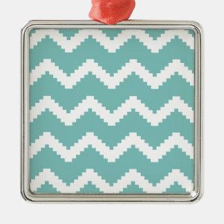 Zigzag geometric pattern - blue and white. metal ornament