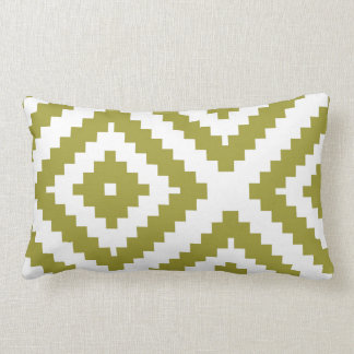 Zigzag Geometric Pattern Olive and White Lumbar Cushion