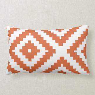 Zigzag Geometric Pattern Orange and White Lumbar Cushion
