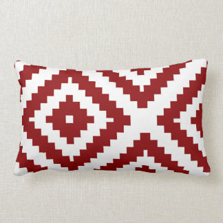 Zigzag Geometric Pattern Red and White Lumbar Cushion