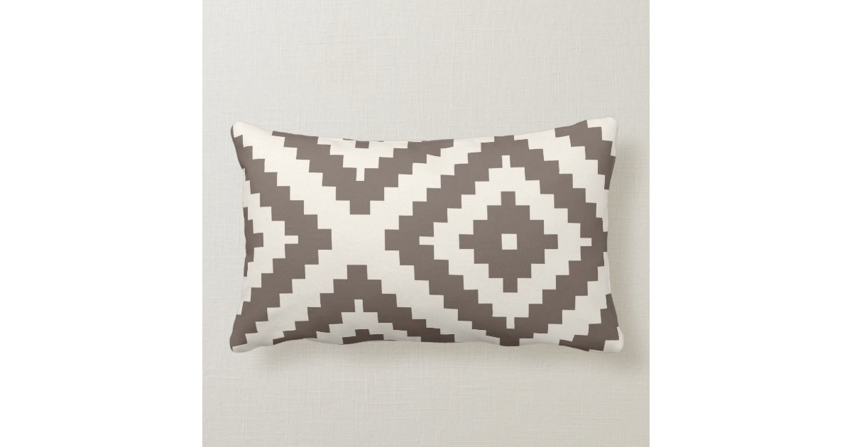 Geometric Cushion Knitting Pattern : Zigzag Geometric Pattern Taupe Brown Cushion Zazzle