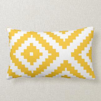 Zigzag Geometric Pattern Yellow and White Lumbar Cushion