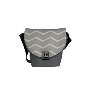Zigzag Grey with Yellow Mini Messenger Bag