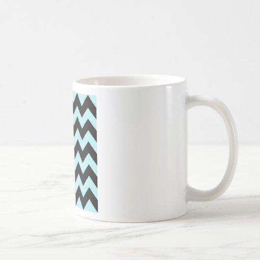 Zigzag I - Black and Pale Blue Coffee Mug