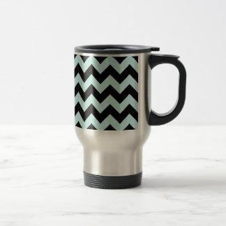 Zigzag I - Black and Pale Blue Mugs