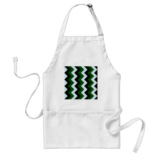 Zigzag I - Black, Dark Green and Light Blue Aprons