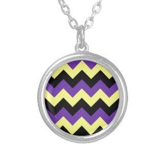 Zigzag I - Black Yellow and Violet Pendant