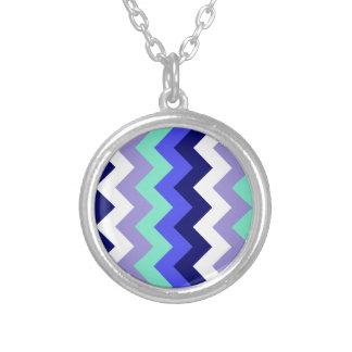Zigzag I - Blue, Green, Violet, White, Blue Necklace