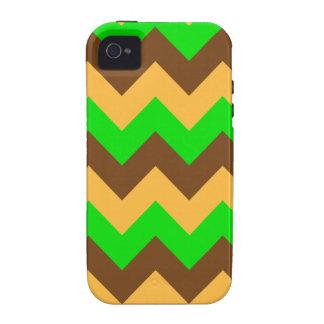 Zigzag I - Brown, Bright Green, Orange iPhone4 Case