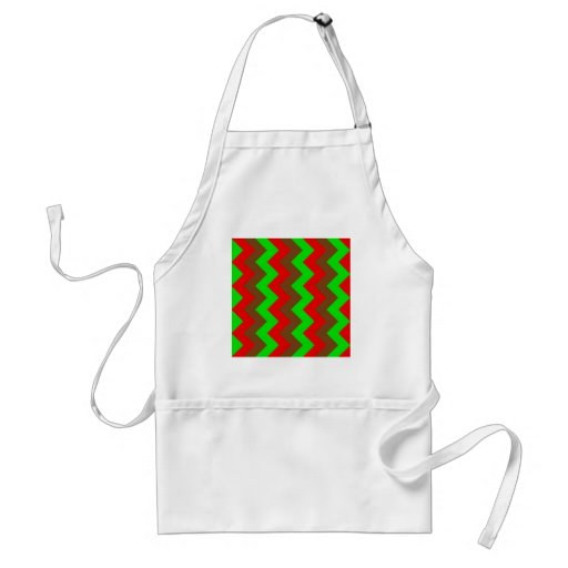 Zigzag I - Brown, Bright Green, Red Apron