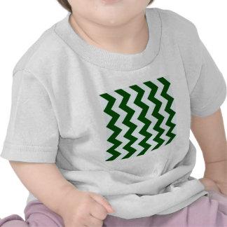 Zigzag I - Dark Green and Light Blue T Shirts