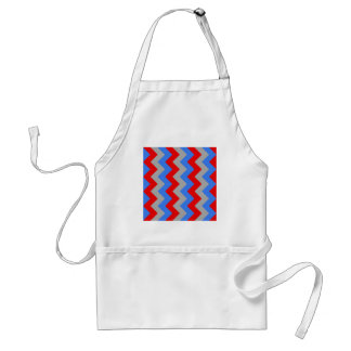 Zigzag I - Gray, Blue, Red Apron