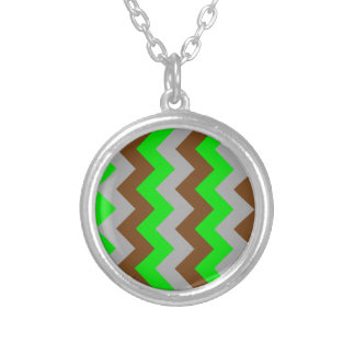 Zigzag I - Gray, Brown, Bright Green Personalized Necklace