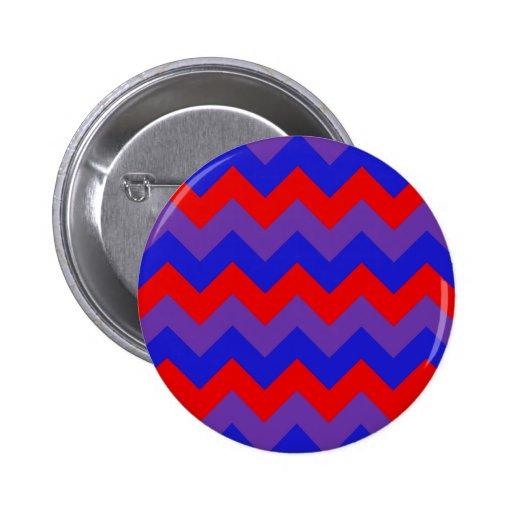 Zigzag I - Red, Blue, Violet Pinback Buttons