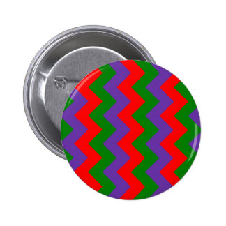 Zigzag I - Red, Green, Violet Pinback Buttons
