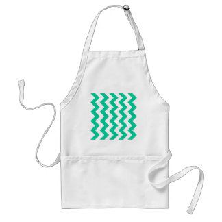 Zigzag I - White and Caribbean Green Aprons