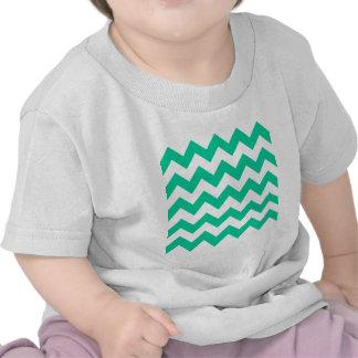 Zigzag I - White and Caribbean Green Tee Shirt