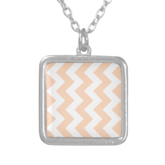 Zigzag I - White and Deep Peach Necklaces