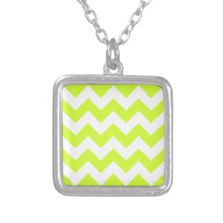 Zigzag I - White and Fluorescent Yellow Necklaces