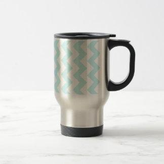 Zigzag I - White and Pale Blue Coffee Mugs