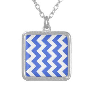 Zigzag I - White and Royal Blue Necklaces