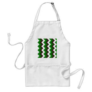 Zigzag I - White, Brown and Green Apron