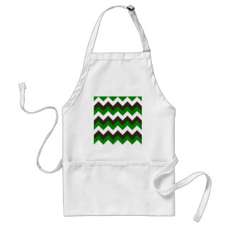 Zigzag I - White, Brown and Green Standard Apron