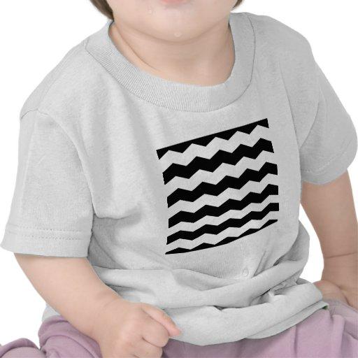 Zigzag II - White and Black T Shirt
