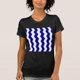 Zigzag II - White and Dark Blue T Shirt