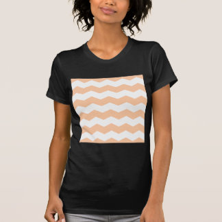 Zigzag II - White and Deep Peach T Shirt