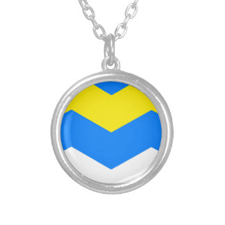 ZIGZAG in Blue & Yellow ~ Round Pendant Necklace
