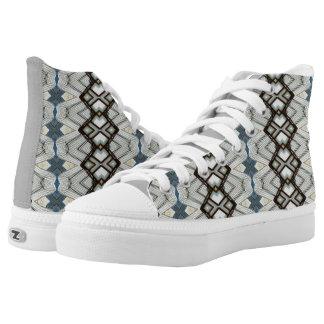 Zigzag kaleidoscope grey pattern printed shoes