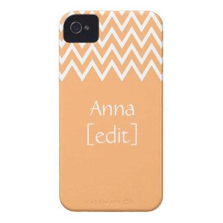 Zigzag On Orange With Your Name - iPhone 4 Case